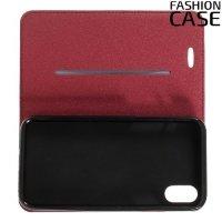 Чехол книжка для iPhone X с скрытой магнитной застежкой - Красный