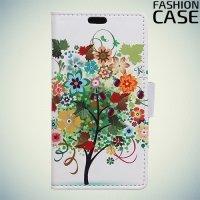 Чехол книжка для LG K8 2017 X300 - с рисунком Дерево счастья
