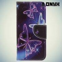 Чехол книжка для LG Q6 M700AN / Q6a M700 - Бабочки на чёрном