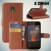 Чехол книжка для Nokia 1 - Коричневый