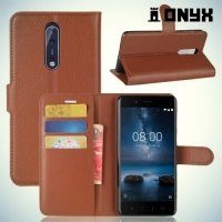 Чехол книжка для Nokia 8 - Коричневый