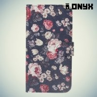 Чехол книжка для Nokia 8 - Розы на черном