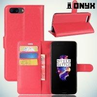 Чехол книжка для OnePlus 5 - Красный