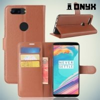 Чехол книжка для OnePlus 5T - Коричневый
