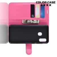 Чехол книжка для Samsung Galaxy A40 - Розовый