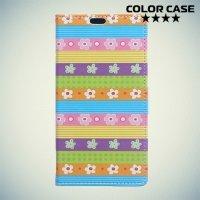 Чехол книжка для Samsung Galaxy A5 2017 SM-A520F - Цветочные узоры