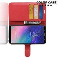 Чехол книжка для Samsung Galaxy A6 2018 SM-A600F - Красный