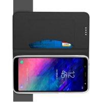 Чехол книжка для Samsung Galaxy A6 Plus 2018 с магнитом и отделением для карты - Черный