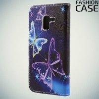 Чехол книжка для Samsung Galaxy A8 2018 - с рисунком Бабочки на чёрном