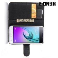 Чехол книжка для Samsung Galaxy J1 2016 SM-J120F - Черный