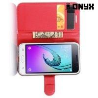 Чехол книжка для Samsung Galaxy J1 2016 SM-J120F - Красный