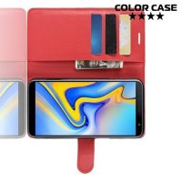 Чехол книжка для Samsung Galaxy J6 Plus - Красный