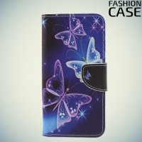 Чехол книжка для Samsung Galaxy S9 Plus - с рисунком Бабочки на чёрном