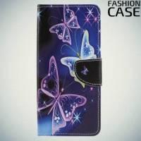 Чехол книжка для Sony Xperia XA2 Ultra - с рисунком Бабочки на чёрном