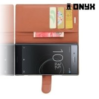 Чехол книжка для Sony Xperia XZ Premium - Коричневый