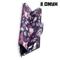 Чехол книжка для Sony Xperia XZ1 - Розы на черном