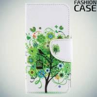 Чехол книжка для Sony Xperia XZ2 Compact - с рисунком Дерево счастья
