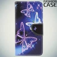 Чехол книжка для Sony Xperia XZ2 - с рисунком Бабочки на чёрном