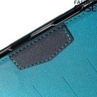 Чехол книжка для Sony Xperia Z5 E6653 с скрытой магнитной застежкой - Голубой