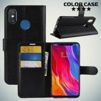 Чехол книжка для Xiaomi Mi 8 - Черный
