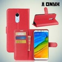Чехол книжка для Xiaomi Redmi 5 Plus - Красный