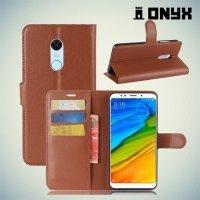 Чехол книжка для Xiaomi Redmi 5 Plus - Коричневый