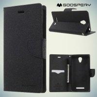 Чехол книжка для Xiaomi Redmi Note 2 Mercury Goospery - Черный