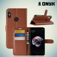 Чехол книжка для Xiaomi Redmi Note 5 / 5 Pro - Коричневый