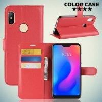 Чехол книжка для Xiaomi Redmi Note 6 / Note 6 Pro - Красный