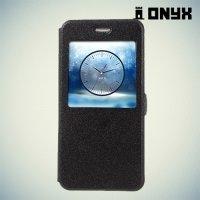 Чехол книжка с умным окном для Huawei Honor 8 - Черный