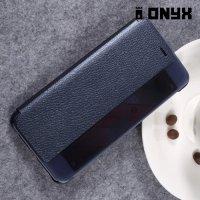 Чехол книжка с умным окном для Huawei P10 - Тёмно Синий