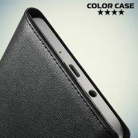 Чехол книжка с умным окном для Samsung Galaxy A7 - Черный