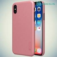 Чехол накладка Nillkin Super Frosted Shield для iPhone X - Розовое золото