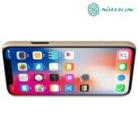 Чехол накладка Nillkin Super Frosted Shield для iPhone Xs / X - Золотой