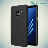Чехол накладка Nillkin Super Frosted Shield для Samsung Galaxy A8 Plus 2018 - Черный
