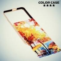 Чехол с металлическим бампером для Samsung Galaxy А3 - с рисунком Осень