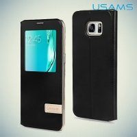 Чехол USAMS Muge S View Cover с умным окном для Samsung Galaxy Edge Plus - Черный