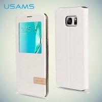 Чехол USAMS Muge S View Cover с умным окном для Samsung Galaxy Edge Plus - Белый