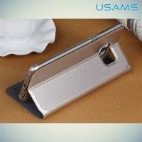 Чехол USAMS Muge S View Cover с умным окном для Samsung Galaxy Edge Plus - Золотой