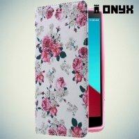 Чехол книжка для LG G4 с рисунком Цветы
