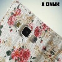 Чехол книжка для Samsung Galaxy A5 с орнаментом Розы на белом