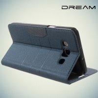 Чехол книжка для Samsung Galaxy A7 с отделением для банковской карты - Синий