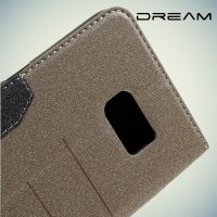 Чехол книжка для Samsung Galaxy S6 Edge+ с отделением для карт - Золотой