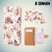 Чехол книжка для Samsung Galaxy S6 Edge с орнаментом Розы на белом