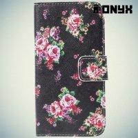 Чехол книжка для Samsung Galaxy S6 Edge с орнаментом Розы на черном