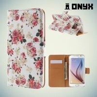 Чехол книжка для Samsung Galaxy S6 с орнаментом Розы на белом