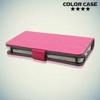 Чехол книжка для телефона 5 дюймов универсальный - Ярко розовый