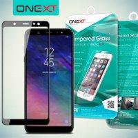 Черное защитное 3D стекло для Samsung Galaxy A6 Plus 2018 полноэкранное OneXT