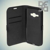 DF sFlip флип чехол книжка для Samsung Galaxy J1 2016 SM-J120F - Черный