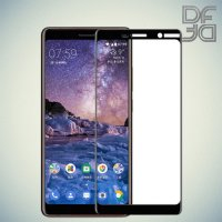 DF Закаленное защитное стекло на весь экран для Nokia 7 Plus - Черный